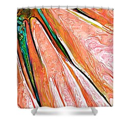Daisy Petal Abstract In Salmon Shower Curtain by ABeautifulSky Photography