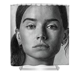 Daisy Ridley Pencil Drawing Portrait Shower Curtain