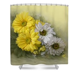 Shower Curtain featuring the painting Daisy Spring Bouquet by Bonnie Willis