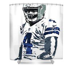 Shower Curtain featuring the mixed media Dak Prescott Dallas Cowboys Pixel Art 4 by Joe Hamilton