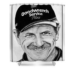 Shower Curtain featuring the drawing Dale Earnhardt Sr In 2001 by J McCombie