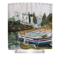 Shower Curtain featuring the painting Dali House From Portlligat by Manuela Constantin