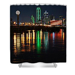 Shower Curtain featuring the photograph Dallas At Night by Kathy Churchman