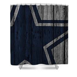 Superb Dallas Cowboys Wood Fence Shower Curtain