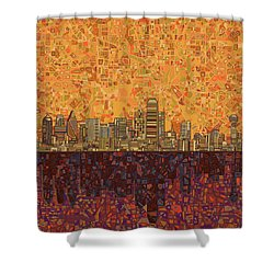 Dallas Skyline Abstract Shower Curtain by Bekim Art