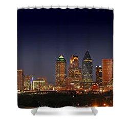 Dallas Skyline At Dusk Big Moon Night  Shower Curtain