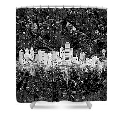 Dallas Skyline Map Black And White 5 Shower Curtain