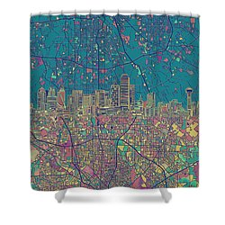 Dallas Skyline Map Green Shower Curtain