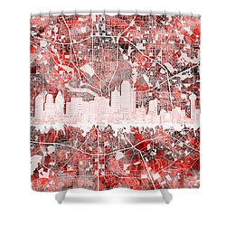 Dallas Skyline Map Red 2 Shower Curtain