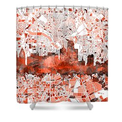 Dallas Skyline Map Red Shower Curtain