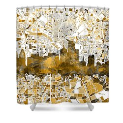Dallas Skyline Map Sepia Shower Curtain