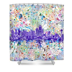 Dallas Skyline Map White 3 Shower Curtain