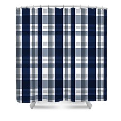 Shower Curtain featuring the digital art Dallas Sports Fan Navy Blue Silver Plaid Striped by Shelley Neff