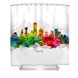 Dallas Texas Cityscape 12 Shower Curtain by Aged Pixel