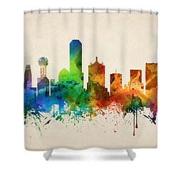 Dallas Texas Skyline 05 Shower Curtain by Aged Pixel
