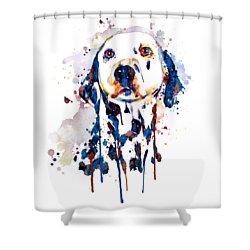 Shower Curtain featuring the mixed media Dalmatian Head by Marian Voicu
