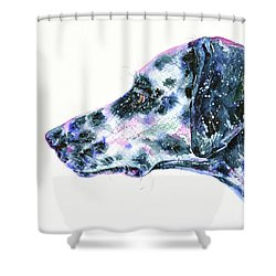Shower Curtain featuring the painting Dalmatian by Zaira Dzhaubaeva