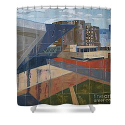 Shower Curtain featuring the painting Dam Museum by Erin Fickert-Rowland
