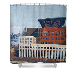 Shower Curtain featuring the painting Dam Public Library by Erin Fickert-Rowland