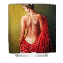 Dama De Rojo Shower Curtain by Natalia Tejera