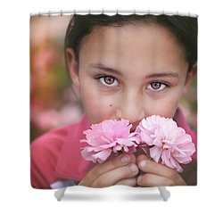 Damask Roses Shower Curtain by Marji Lang