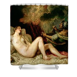 Danae Receiving The Shower Of Gold Shower Curtain by Titian
