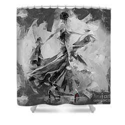 Shower Curtain featuring the painting Dance Flamenco 01 by Gull G