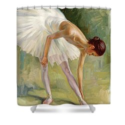 Dancer Adjusting Her Slipper. Shower Curtain