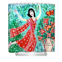 Dancer In Red Sari Shower Curtain by Sushila Burgess