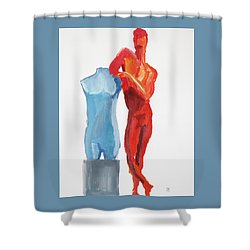 Shower Curtain featuring the painting Dancer With Mannekin by Shungaboy X