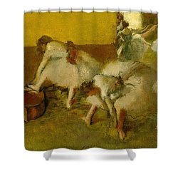 Dancers In The Green Room Shower Curtain by Edgar Degas