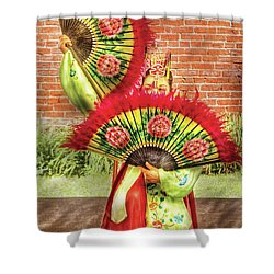 Dancing - The Fan Dance Shower Curtain by Mike Savad