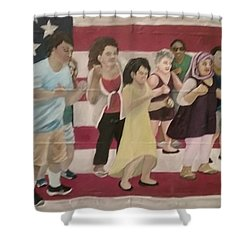Dancing Americans Shower Curtain by Saundra Johnson