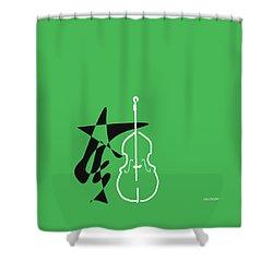 Dancing Bass In Green Shower Curtain by David Bridburg