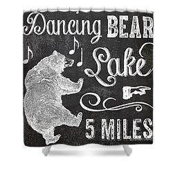 Dancing Bear Lake Rustic Cabin Sign Shower Curtain