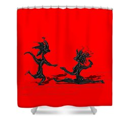 Dancing Couple 9 - Red Shower Curtain by Manuel Sueess