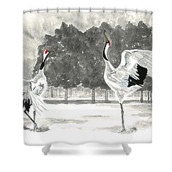 Dancing Crane II Shower Curtain