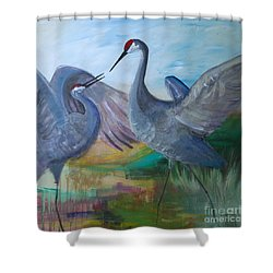 Dancing Cranes Shower Curtain by Robin Maria Pedrero