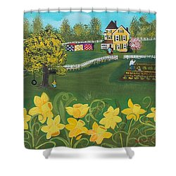 Shower Curtain featuring the painting Dancing Daffodils by Virginia Coyle