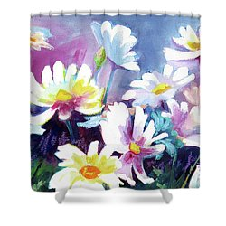 Shower Curtain featuring the painting Dancing Daisies by Kathy Braud