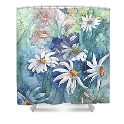 Shower Curtain featuring the painting Dancing Daisies by Renate Nadi Wesley