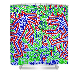 Dancing Dogs After Keith Haring 1958-90 Shower Curtain