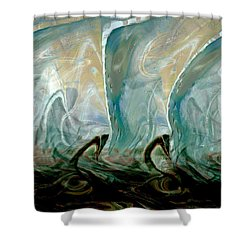 Dancing Dolphins Shower Curtain by Linda Sannuti