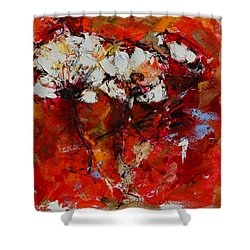 Shower Curtain featuring the painting Dancing Flowers by Elise Palmigiani