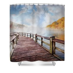 Shower Curtain featuring the photograph Dancing Fog At The Lake by Debra and Dave Vanderlaan