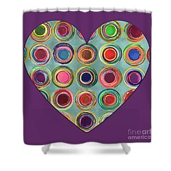 Shower Curtain featuring the painting Dancing In Circles Heart by Carla Bank