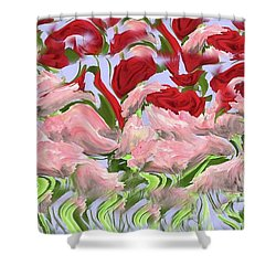 Shower Curtain featuring the painting Dancing In The Garden by David Dehner