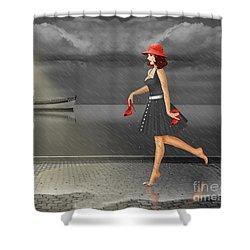 Dancing In The Rain Shower Curtain by Monika Juengling