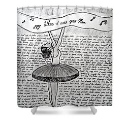 Dancing Lyrics Shower Curtain by Chenee Reyes
