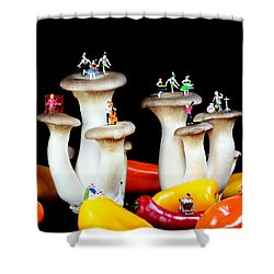 Dancing Show On Mushroom Shower Curtain by Paul Ge